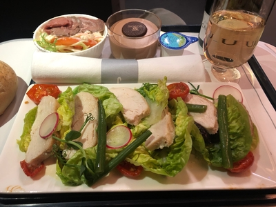 British Airways Club Europe meal from Barcelona