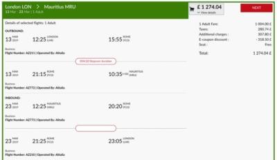 Alitalia 20% discount
