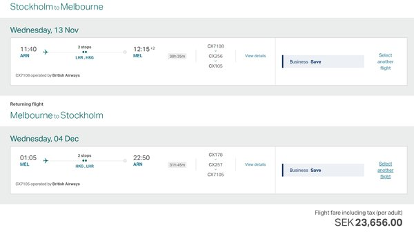 Cheap business class deals: Australia / NZ from Sweden and lots of places from Amsterdam (via Cairo!)