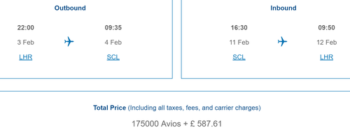 How to book Santiago with Avios