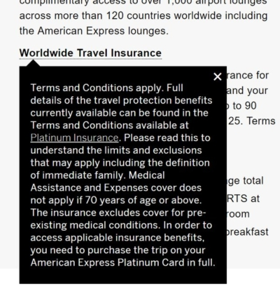 Amex Platinum travel insurance