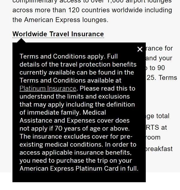 Amex Platinum travel insurance
