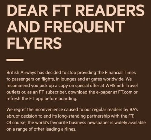 British Airways drops Financial Times