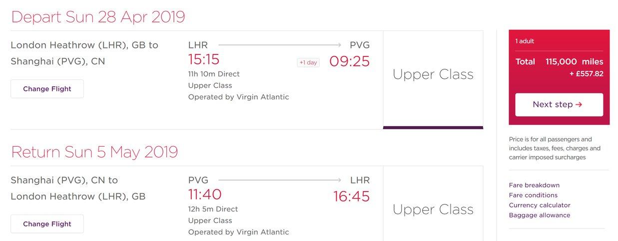 Virgin Atlantic increases taxes