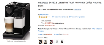 Amazon Nespreso EN550b coffee machine