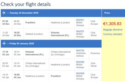 British Airways Christmas deals