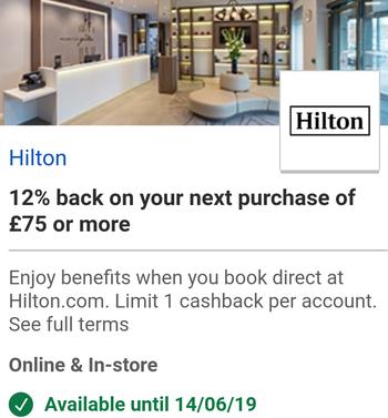 Hilton Visa cashback offers