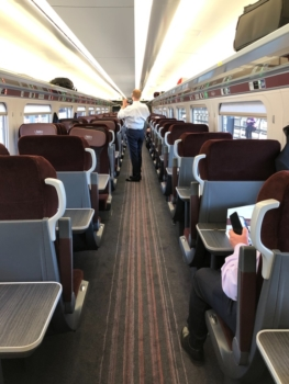 LNER Azuma train first class carriage