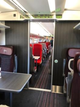 LNER Azuma train first class into standard class