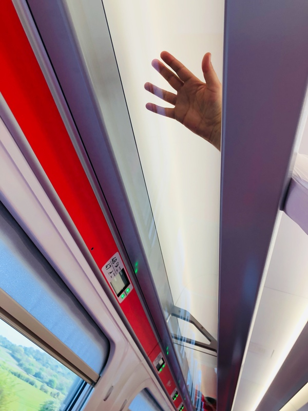 LNER Azuma train overhead shelf