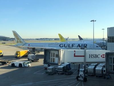 Gulf Air Lounge Heathrow Terminal 4 view Gulf Air aircraft