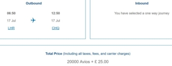 British Airways no taxes Avios pricing