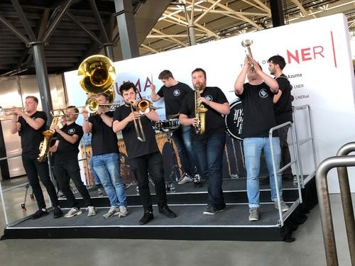 LNER Azuma launch brass band