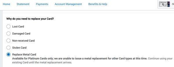 Amex Platinum is letting you order a metal replacement card