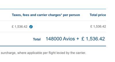 British Airways First Class Avios taxes