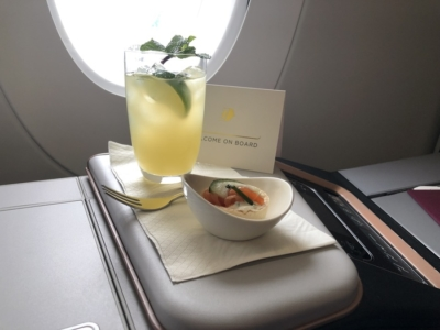Malaysia Airlines Business Suite A350 review welcome drink
