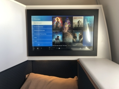 Malaysia Airlines Business Suite A350 review in flight entertainment