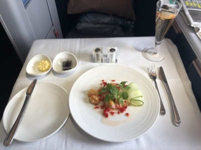 Malaysia Airlines Business Suite A350 review halibut starter