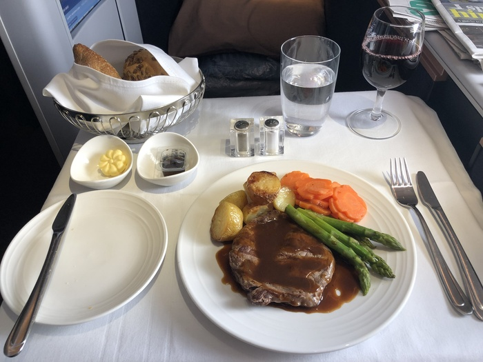 Malaysia Airlines Business Suite A350 review rib eye steak