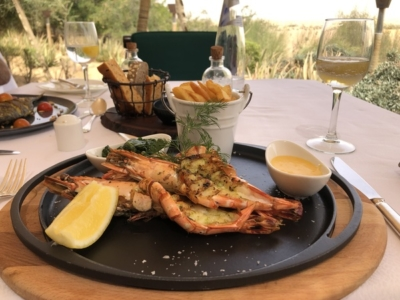 Marriott Al Maha Desert Resort Dubai giant prawns
