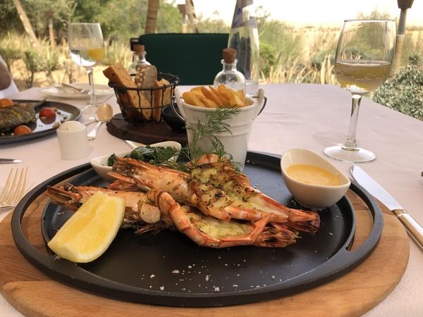Marriott Al Maha Desert Resort Dubai giant prawns