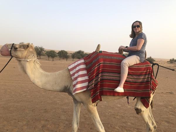 Marriott Al Maha Desert Resort Dubai Caroline on Camel