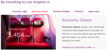 Economy Class miles earned