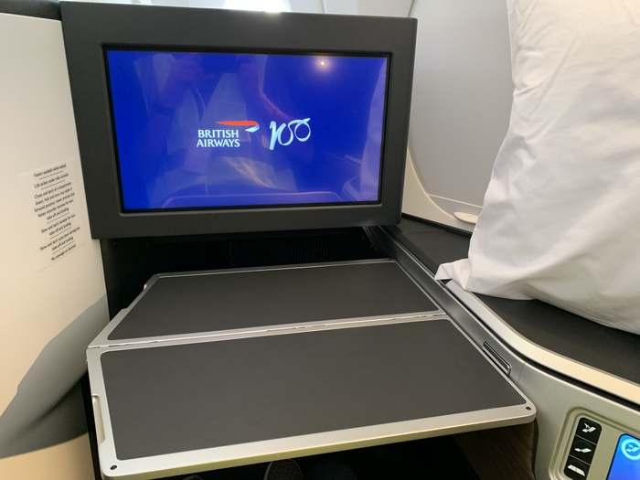 British Airways A350 Club Suite tray table