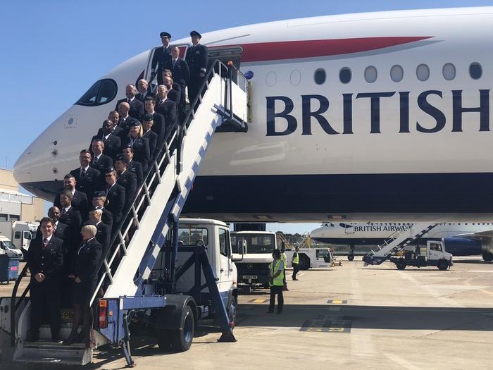 BA A350 Arrival event cabin crew