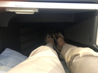 British Airways A350 Club Suite foot cubby