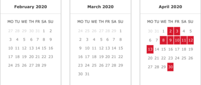 Iberia peak and off-peak Avios calendar 2020