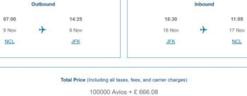 Avios redemption pricing fixed