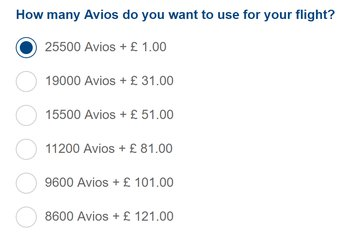 Avios price increases from the regions