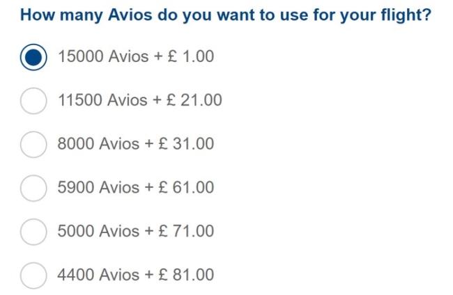 £1 British Airways Avios pricing