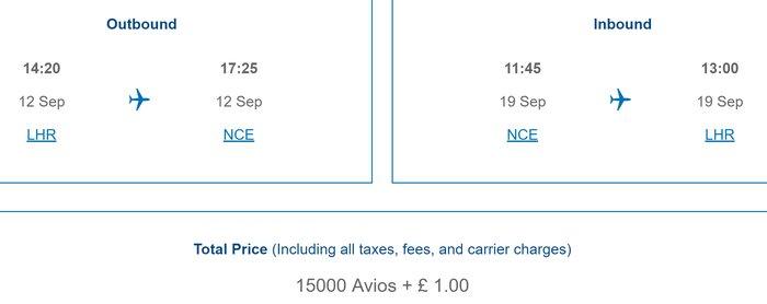 New British Airways Avios pricing