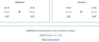 British Airways £1 Avios pricing