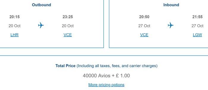 British Airways £1 Avios pricing