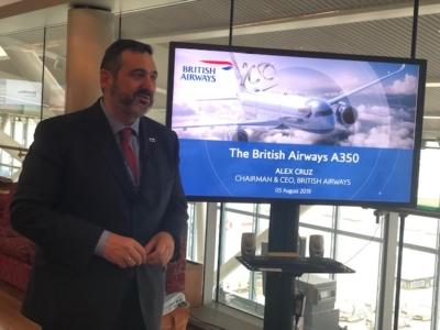 BA A350 inaugural flight Alex Cruz