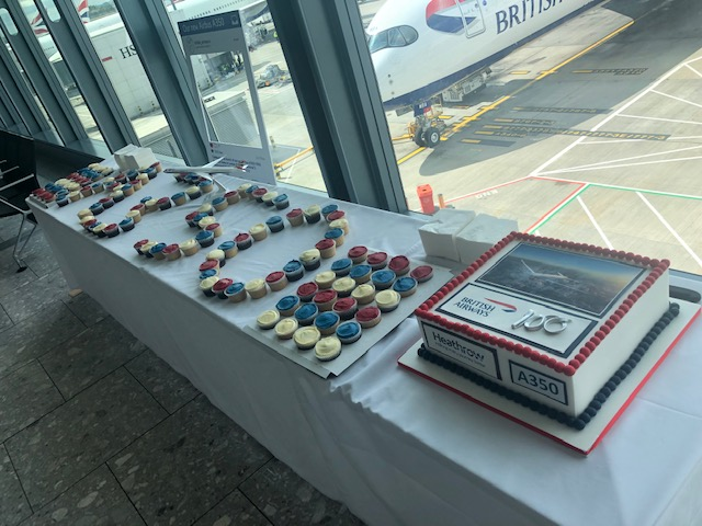 BA A350 inaugural flight cake