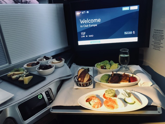 British Airways A350 Club World food