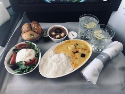 British Airways A350 Club Suite Inaugural flight food