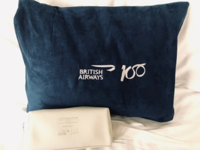 British Airways A350 BA100 pillow amenity kit