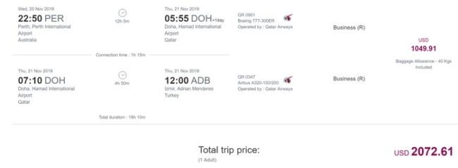 Qatar Airways pricing from Izmir
