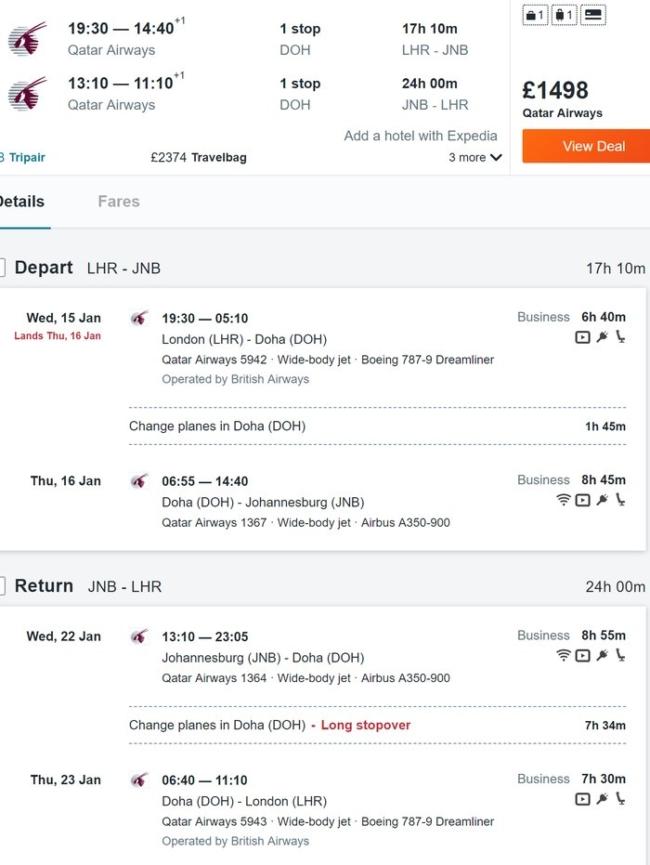 Qatar Airways Johannesburg deal