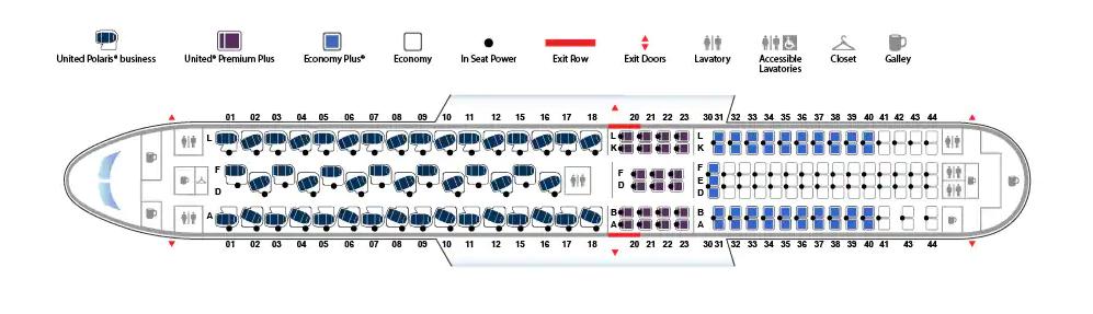 United 767 high j seat map