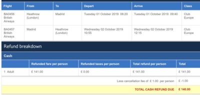 What are the cancellation fees on an Avios booking?
