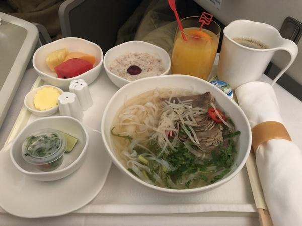 Vietnam Airlines business class breakfast pho