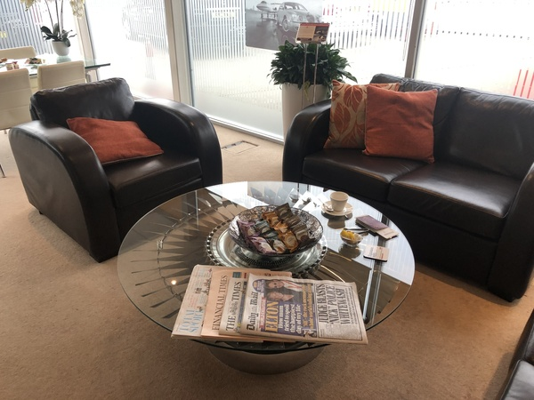 Signature Elite Class Gatwick Private jet terminal experience coffee table