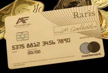 Raris Royal Mint gold debit card