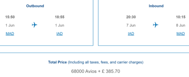 BA Avios pricing on Iberia